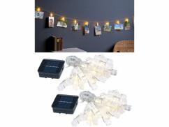 2 guirlandes porte-photos avec 40 pinces à LED chacune - 10 m - Solaire