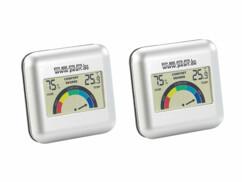 Lot de 2 hygromètres digitaux avec thermomètre intégré.