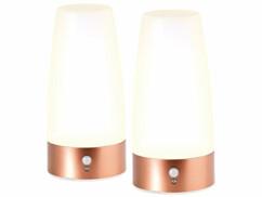 Deux lampes de chevet à LED Lunartec avec détecteur de mouvement.