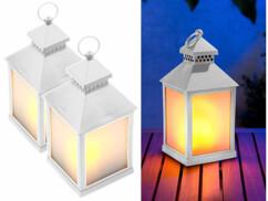 2 lanternes à LED effet flamme avec minuteur - Blanc