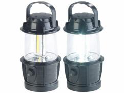 2 lanternes nomades à intensité variable avec 3 LED COB - 3 W - 140 lm