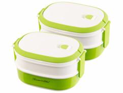 2 lunch box 700 ml à 2 étages avec poignée de transport - Sans BPA