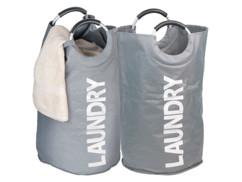 2 sacs à linge 65 L avec poignées - gris anthracite