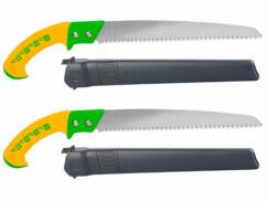 2 scies à main avec lames 30 cm en acier carbone 65 mn à denture large