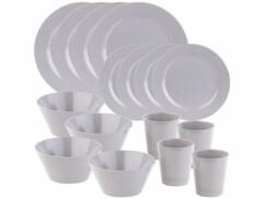2 sets de vaisselle 16 pièces en bambou mélaminé pour 4 personnes