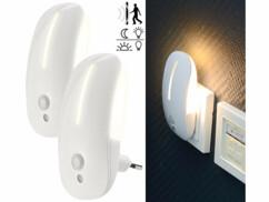 2 veilleuses murales à LED avec capteurs de mouvement et de luminosité