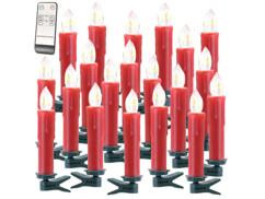20 bougies LED sans fil avec télécommande XMS-35.r - Rouge