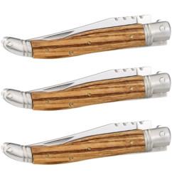 3 couteaux pliant en kit, en acier inoxydable avec manche en bois véritable