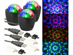 3 minis boules disco RVB USB/ Lightning avec capteur acoustique