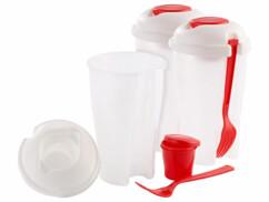 3 shakers à salade avec fourchettes et gobelets à assaisonnement