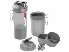 3 shakers pour le fitness 500 ml avec balle mélangeuse et compartiment à poudre
