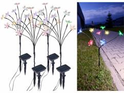 4 bouquets lumineux solaires avec 8 fleurs multicolores