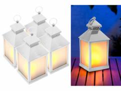 4 lanternes à LED effet flamme avec minuteur - Blanc