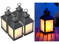 4 lanternes à LED effet flamme avec minuteur - Noir