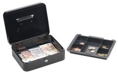 petite caisse a monnaie 25cm pour pieces et billets avec 2 clés de securité avec compatiment pieces amovible