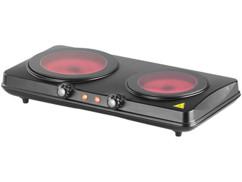 Double plaque de cuisson vitrocéramique à infrarouge 2000W, Ø 16,4& 18,8cm