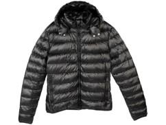 Doudoune ultralégère en duvet avec col montant et capuche - Noir - Taille S