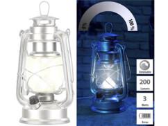 Lampe-tempête LED à piles à intensité variable 200lm/ 3W/ 8000K - Argent