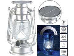 Lampe-tempête LED solaire à intensité variable 200lm/ 3 W/ 8000 K - Argent