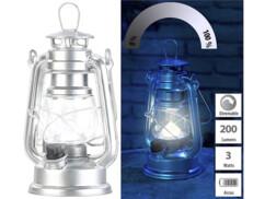 Mini lampe-tempête LED à piles à intensité variable 200lm/ 3W/ 8000K - Argent