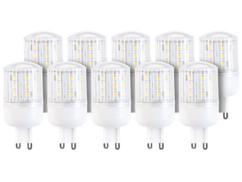 10 ampoules compactes LED 3 W avec éclairage 360° - GU9 - Blanc chaud
