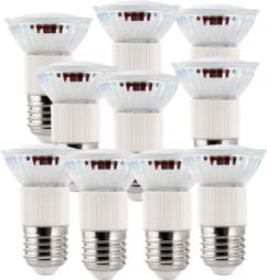 10 ampoules LED dimmables, culot E27, blanc chaud
