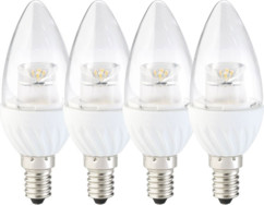 4 ampoules LED ovales 4 W - E14 - Blanc chaud