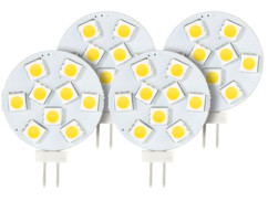 4 ampoules LED SMD à culot G4 - blanc chaud - 1,8 W
