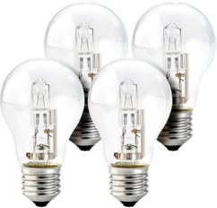 Lot de 4 ampoules halogènes globe dimmables - E27 - 77 W - Blanc chaud