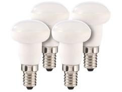 Lot de 4 ampoules LED en céramique, 4 W, E14 - Blanc chaud
