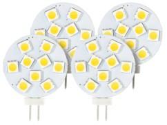 Lot de 4 ampoules LED SMD à culot G4 - blanc chaud - 1,8 W