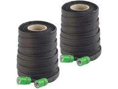 2 tuyaux d'arrosage poreux plats avec raccords et valve d'arrêt - 50 m