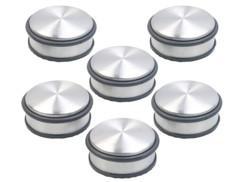 Pack de 6 bloque-portes en acier inoxydable avec anneaux en caoutchouc - 46 mm