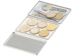 3 compartiments de rangement pour étui à cartes de crédit, coloris argenté