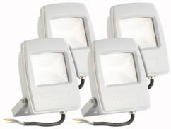 4 projecteurs LED pour extérieur - 10 W - Blanc chaud
