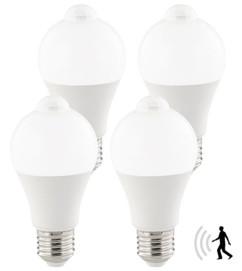 Ampoule LED 12 W / E27 / 1055 lm avec détecteur de mouvement - Blanc - x4
