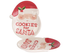 "Lot de 2 assiettes décoratives Père Noël ""Cookies for Santa"""