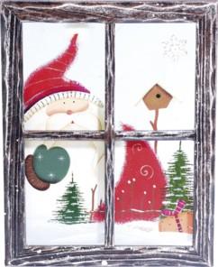 Cadre décoratif en bois trompe-l'œil ''Fenêtre'' - Père Noël