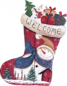 Chaussette décorative en bois - motif Bonhomme de neige