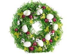 Couronne de Pâques décorative avec oeufs et fruits rouges, Ø 34cm
