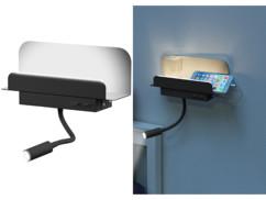 Étagère murale avec lampe de lecture et port de chargement USB - Noir