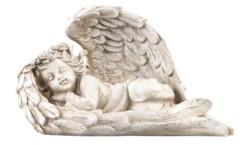 Figurine solaire à LED - Ange endormi, 16 cm