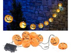 """Guirlande à LED 10lampions """"Citrouilles d'Halloween"""" - À piles"""