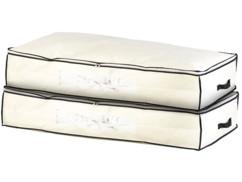 2 housses de rangement 86 L pour dessous de lit avec fenêtre transparente -Beige