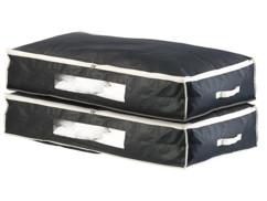 2 housses de rangement 86 L pour dessous de lit avec fenêtre transparente - Noir
