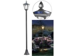 Lampadaire de jardin solaire à LED, capteur PIR et crépusculaire, 300 lm, 160 cm