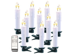 Pack de 10 bougies à LED sans fil avec télécommande - Blanc
