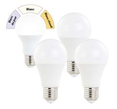 Pack de 4 ampoules LED E27 / 10 W / 810 lm / A+ à 3 températures d'éclairage