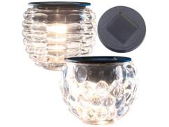"""Photophore en verre à LED solaire, Ø 8 cm """"Lucilla"""" + """"Liora"""""""