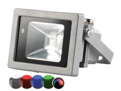 Projecteur à LED étanche, boîtier métal, 10 W, RVB